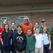 Ret Lt Richard Duthler led the children on the field trip for the MSP 100 Year Anniversary Open House at the Lapeer Post